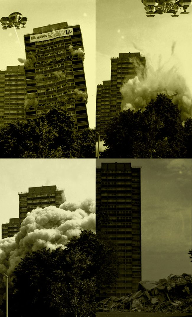 Nightingale Estate's blowdown, Hackney, 1998